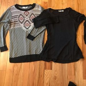 Two Cato sweaters, black and gray with black trim